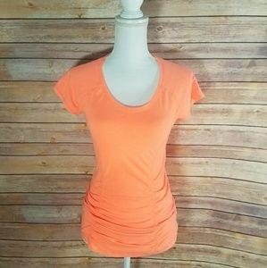 Zella Coral Orange Short Sleeve Workout Top